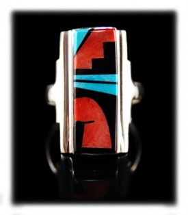 Native American Indian Jewelry artisan Edison Yazzie used killer natural Sleeping Beauty Turquoise as an accent in this handmade Sterling Silver ring