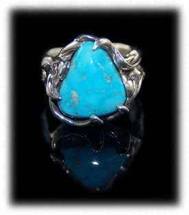 Lost Wax Sleeping Beauty Turquoise Ring by Crystal Hartman of Durango, Colorado USA