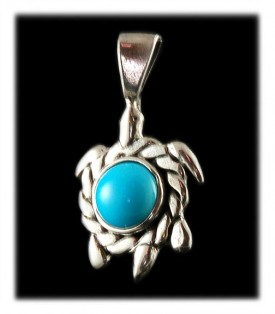 Sleeping Beauty Turquoise Turtle pendant