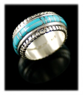 Hand crafted and inlaid Sterling Silver ring with genuine Sleeping Beauty Turquoise from Globe, Arizona USA