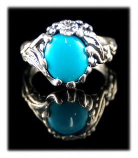 Lost wax style Sterling Silver and blue Turquoise ring by John Hartman of Durango Silver Company