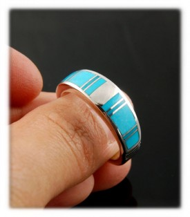 Native American Indain Handmade Sterling Silver ring with natural Sleeping Beauty Turquoise from Globe, Arizona USA - this is a great example of a Sleeping Beauty Turquoise ring