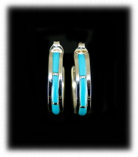 Zuni Earrings Turquoise - Sleeping Beauty Turquoise Hoop Earrings