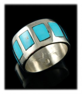Inlaid Sterling Silver ring with  natural Sleeping Beauty Turquoise from Globe, Arizona USA