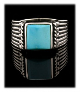Art Deco styler Sterling Silver band ring with a square  Sleeping Beauty Turquoise gemstone