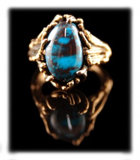 Smoky Bisbee Turquoise Jewelry in Gold