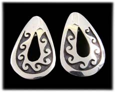 Hopi Southwestern Jewelry - Overlay Sterling Silver Earrings