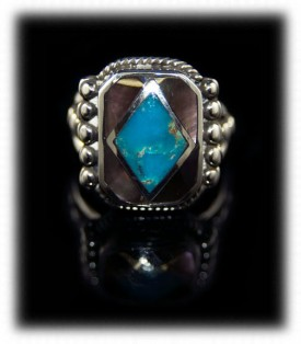 Bisbee Turquoise Inlay Mens Ring