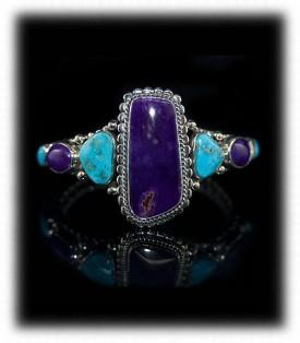 Sugilite Southwestern Handcrafted Silver Bracelet
