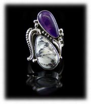 Sugilite and White Buffalo Southwestern Jewelry Ring