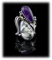 Sugilite and White Buffalo Southwestern Jewelry Ring
