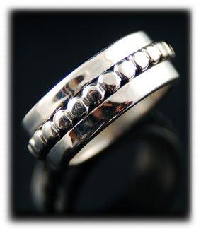 Beaded Wedding Ring Silver Band