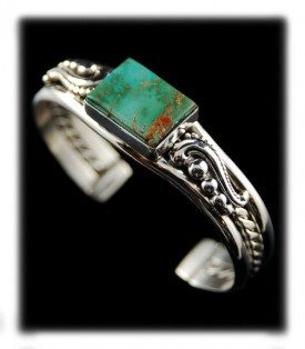 American Green Turquoise in a Southwestern Style Silver Bracelet