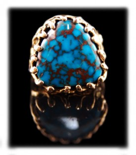 Spiderweb Bisbee Turquoise Gold Mens Ring