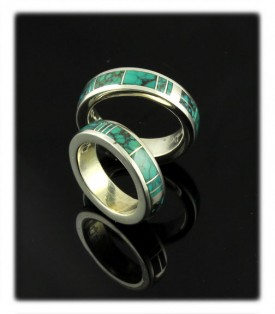 All Around Inlay Band Ring With Spiderweb Tibetan Turquoise Wedding