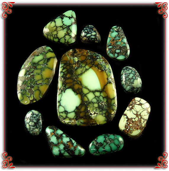 Ultra High Grade Spiderweb Turquoise Cabochons from the Tortoise Turquoise mine in Nevada