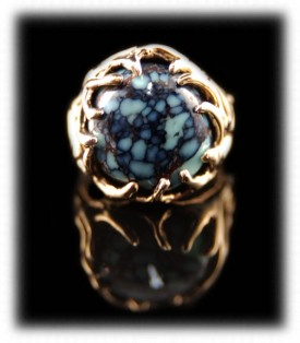 Tortoise Spiderweb Turquoise in a Womens Gold Ring