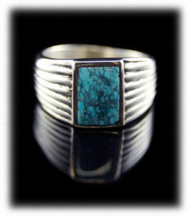 Mens Spiderweb Turquoise Ring