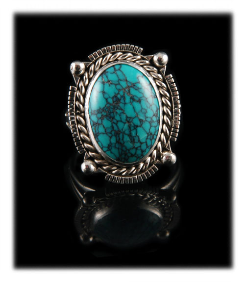 Hubei Chinese Spiderweb Turquoise cabochon ring