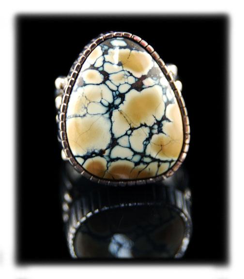 Caramel Tortoise Spiderweb Turquoise Ring