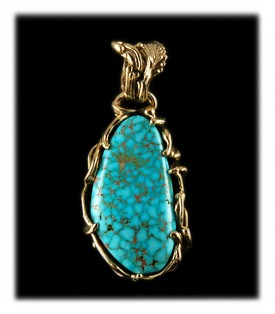 Spiderweb Turquoise Pendant in  14ky Gold