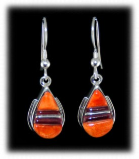 Orange Spiny Inlaid Earrings - Native Indian Jewelry