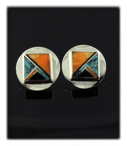 Inlay Stud Earrings with Spiny Oyster Sheel