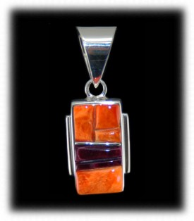 Spiny Oyster Inlay Silver Pendant