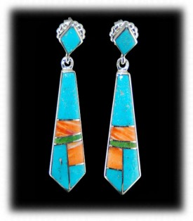 Spiny Oyster and Turquoise Zuni Inlaid Earrings