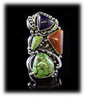 Lime Turquoise with Colored Gemstones in a Victorian Style Ring