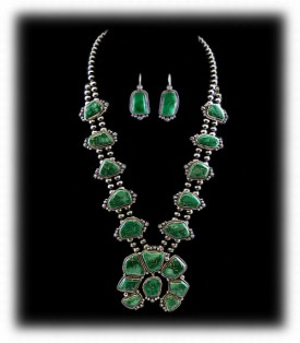 Indian Jewelry - Navajo Handcrafted Squash Blossom Necklace