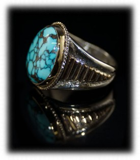 Mens Silver Gold and Turquoise Ring - Gold and Silver