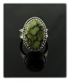 Sterling Silver Lime Green Turquoise Rings