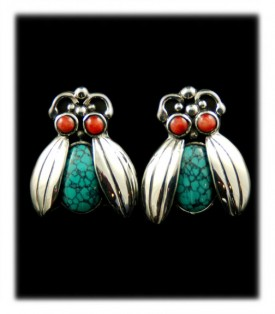 Coral and Turquoise bug earrings