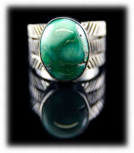 Broken Arrow Turquoise Sterling Silver Ring Band
