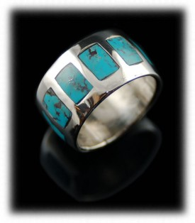 Sterling Silver Ring Bands - Inlaid Turquoise