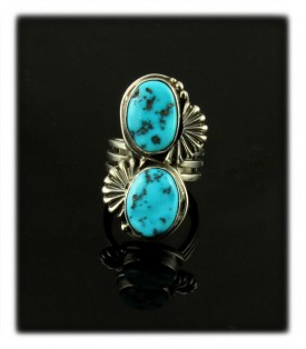 Sterling Silver Turquoise Ring with Sleeping Beauty