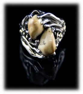 Mens Sterling Ring with Elk Teeth