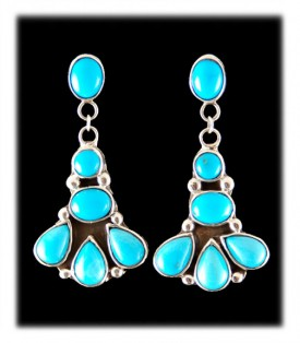 Sterling Silver Earrings with Sleeping Beauty Turquoise