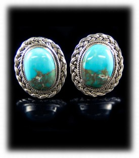 Stormy Mountain Turquoise Stud Earrings - Sterling Silver Earrings