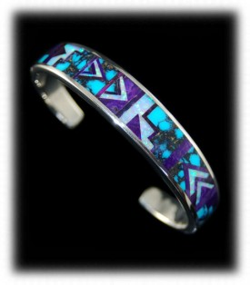 Sugilite and Turquoise Inlaid Native American Indian Bracelet