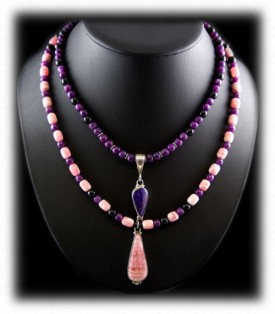 Sugilite Beads with Pendant Necklace