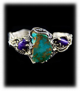 Blue Gem Turquoise and Sugilite Bracelet