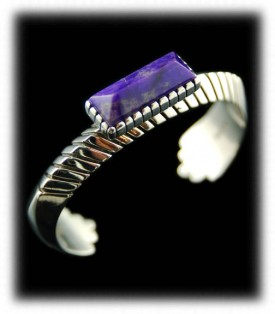 Sugilite and Sterling Silver Inlay Bracelet