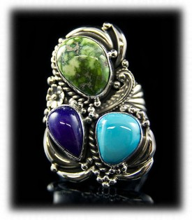 Sugilite and Lime Turquoise Ring