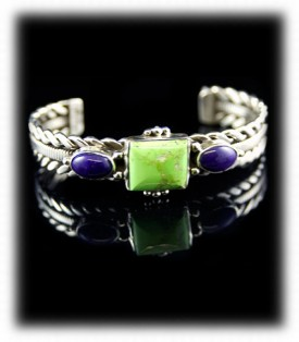 Gaspeite and Sugilite Sterling Silver Bracelet