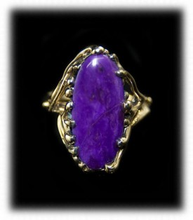 Gold Sugilite Ring - Lost Wax Design