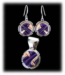 Highend Sterling Silver and Sugilite inlay earrings set