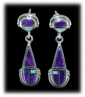 Sugilite and Turquoise Inlaid Earrings - Dangle Inlaid Earrings