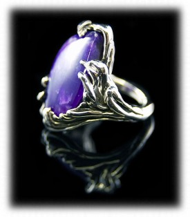 Take a look at this beautiful handmade Sterling Silver and Lost Wax Sugilite Ring